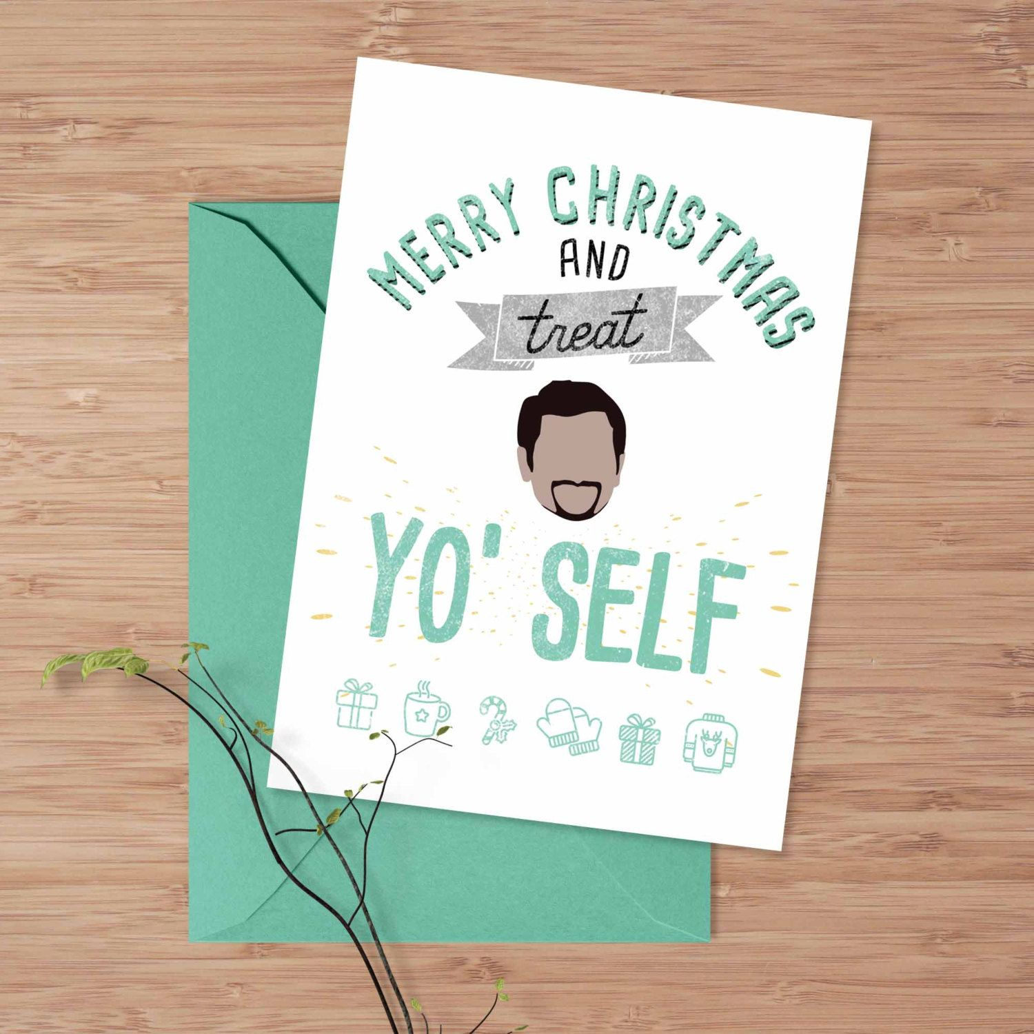 Christmas Greeting Card Tom Haverford Treat Yo Self Card Parks