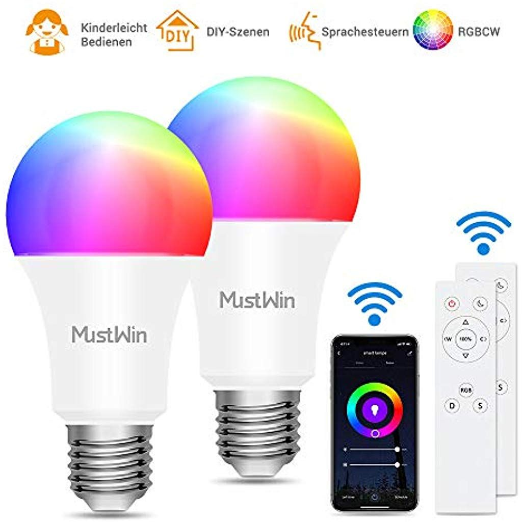 Smart Lampe Mustwin Wlan Lampe 9w Alexa Gluhbirne 900lm E27 Rgb Warmweiss Kaltweiss Dimmbar Mit 3 Kontrollweise Von App Sp Leuchtmittel Innenbeleuchtung Lampen