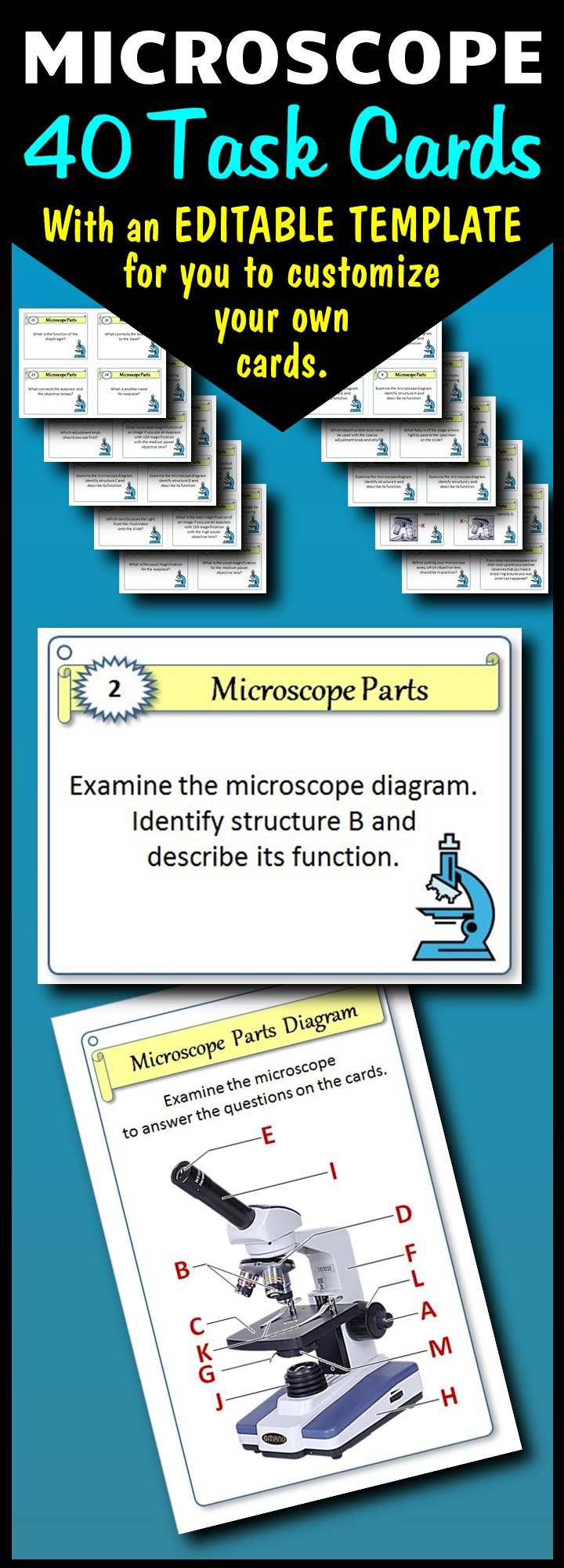 Microscope Task Cards {With Editable Template} Biology