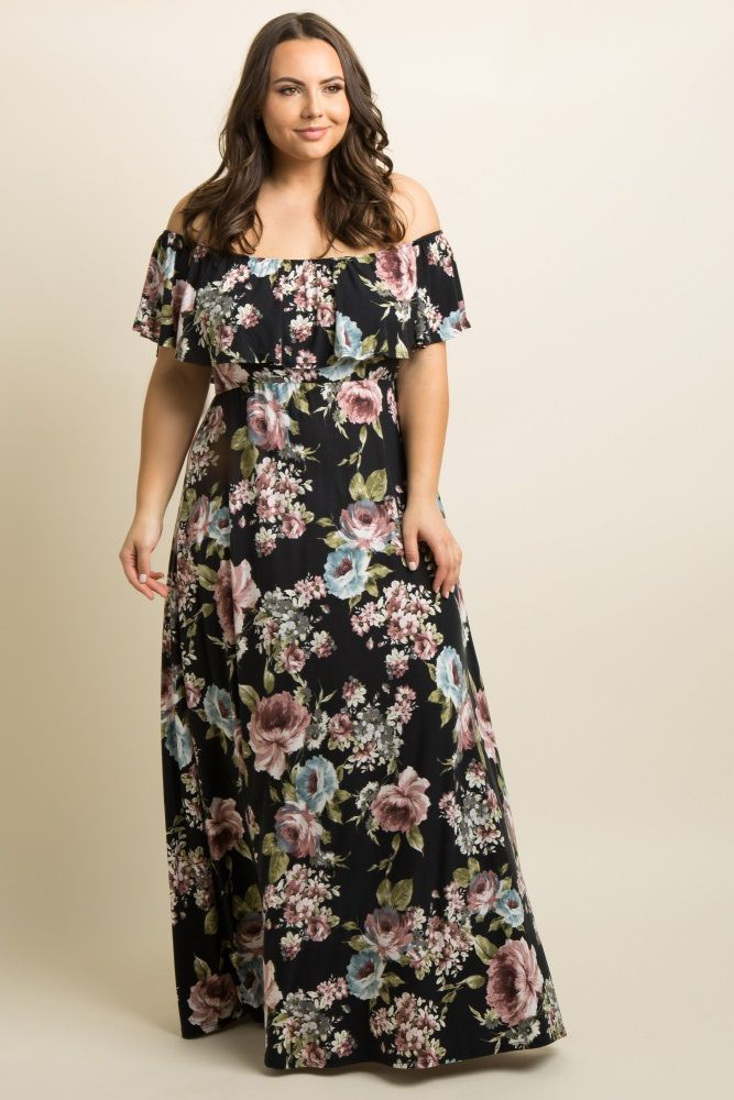 6cd9a6b48dcc A floral print plus size maxi dress featuring a ruffle trim, and cinched  elastic off shoulder neckline and waistline.