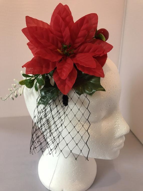 Vintage style red teardrop shaped hair fascinator red poinsettias black veil hair clip 1950s Christm #fascinatorstyles
