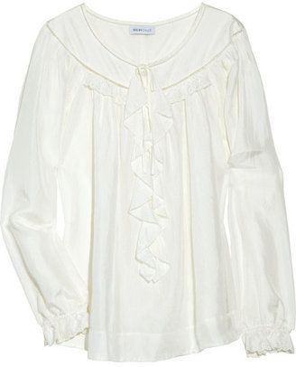 efe8953d8f0a0c ShopStyle  See by Chloé Ruffle-front silk peasant blouse