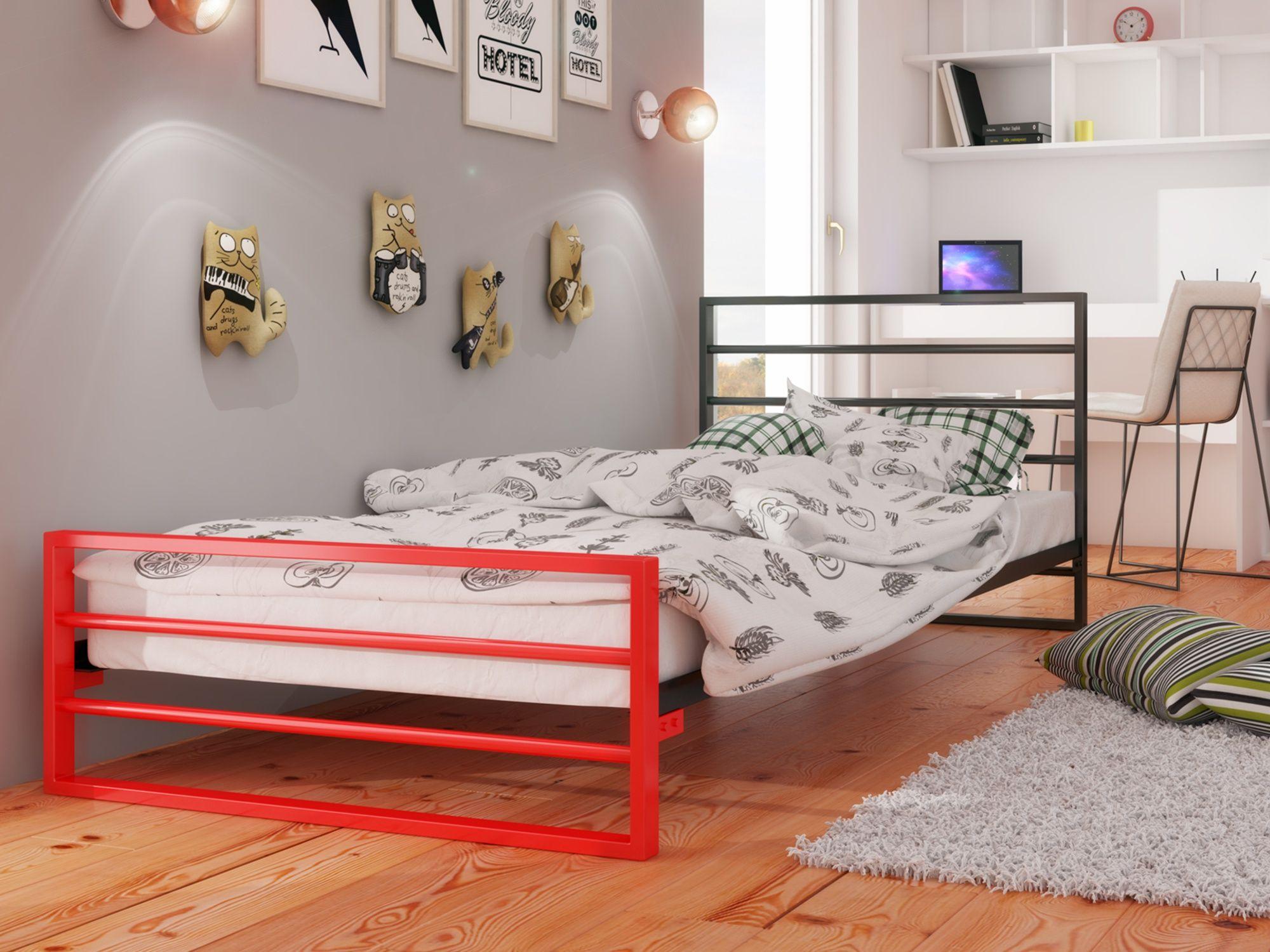 łóżko Metalowe Młodzieżowe 90x200 Wzór 7j Stelaż Meble W