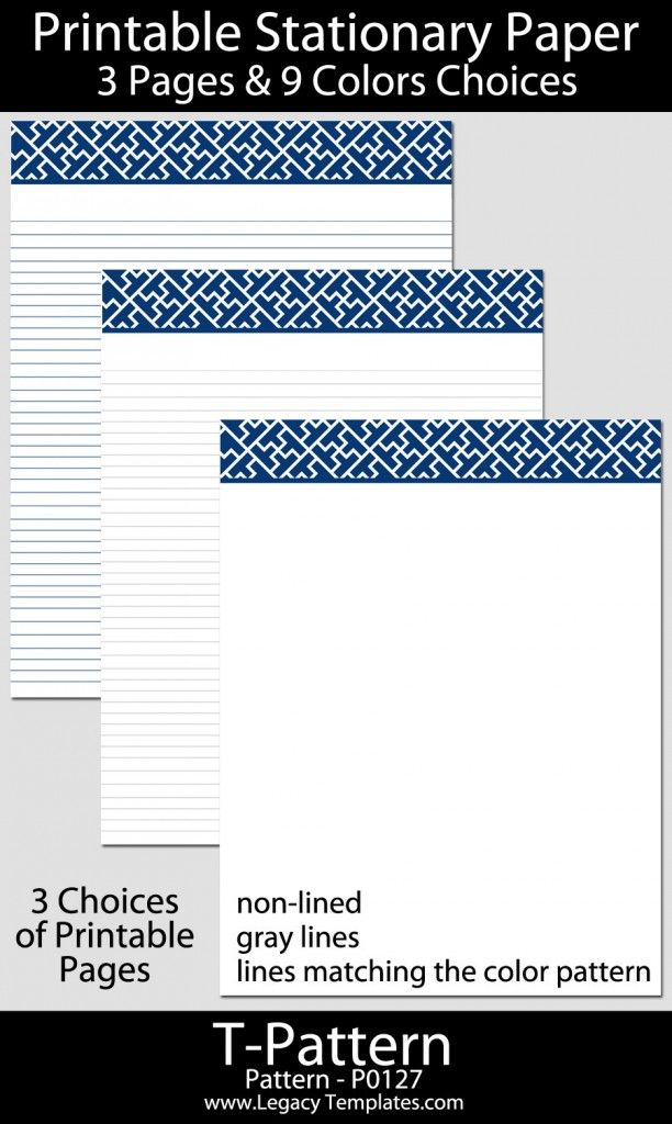 Printable Stationary Paper with a u201cTu201d Pattern P0127 u2013 85u2033x11 - notebook paper download