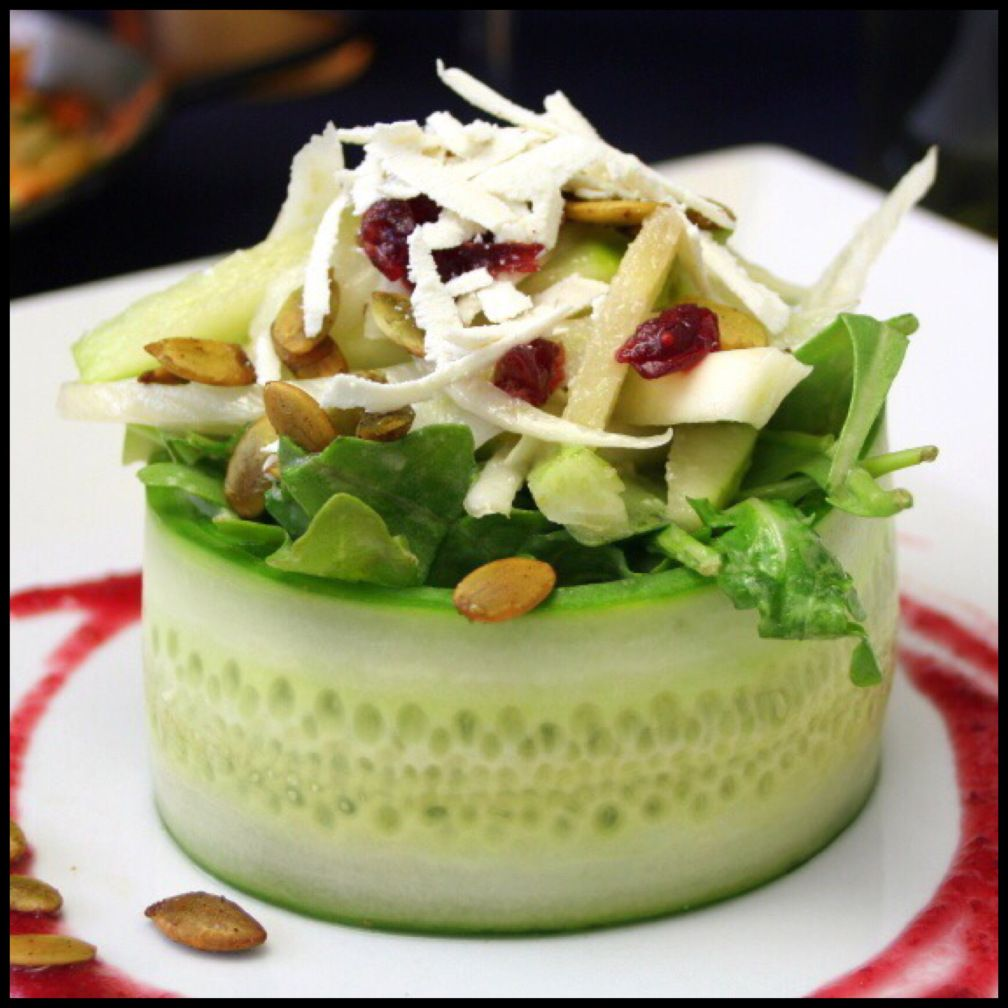 Salad in an individual cucumber bowl rodeoand5thfoodie