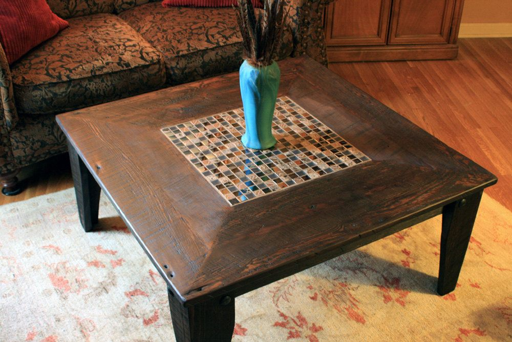 Square Coffee Table Glass Stone Tile Mosaic Reclaimed Wood
