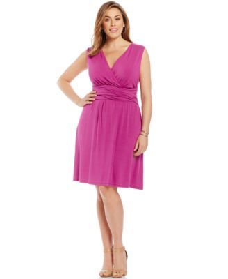 INC International Concepts Plus Size Faux-Wrap Dress