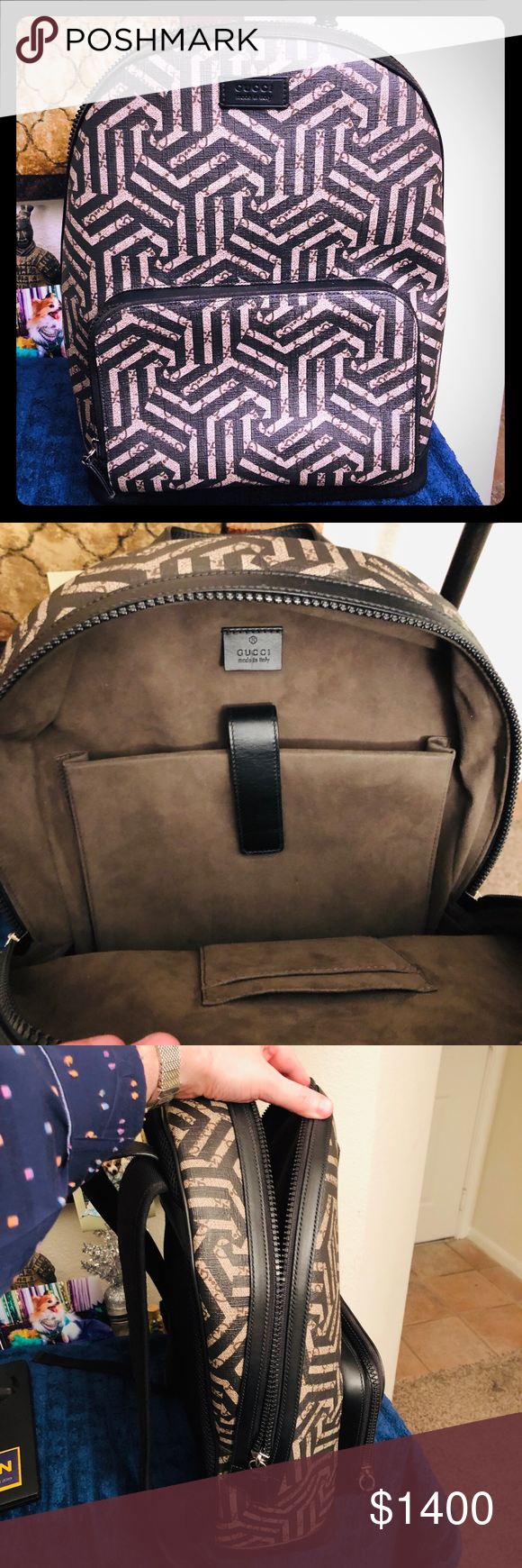 e378627f25e3 Gucci GG Caleido Canvas Backpack Black & Brown Gently used in mint  condition Backpack Only Gucci