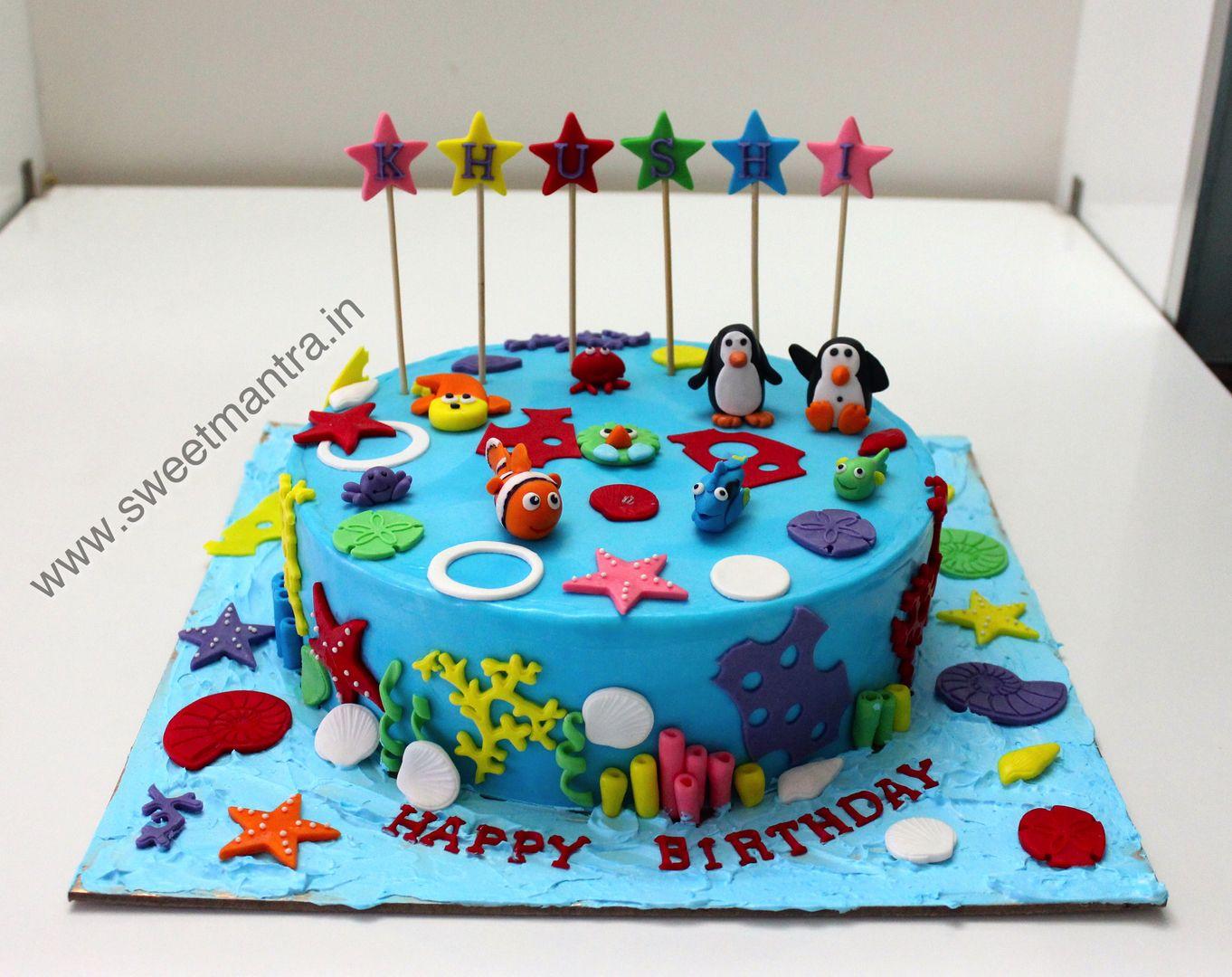 Homemade Eggless 3dcustom Sea Theme Birthday Cake For Girl At