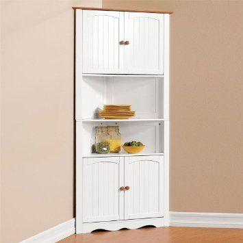 Amazon Com Brylanehome Country Kitchen Corner Cabinet Free Standing Cabinets Corner Kitchen Cabinet Corner Storage Cabinet Corner Cabinet Kitchen Storage