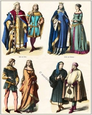 14th Century Clothing Middle Ages Gothic Costumes Court Dress Gown Of German Nobility Medieval Fashion Ideas
