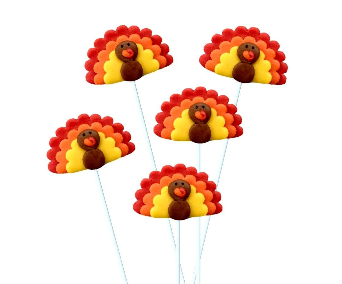 Turkey Marzipop™ Artisan Marzipan Lollipops!  Thanksgiving Place Settings and Hostess Gift! Great for Kids! by marzipops on Etsy