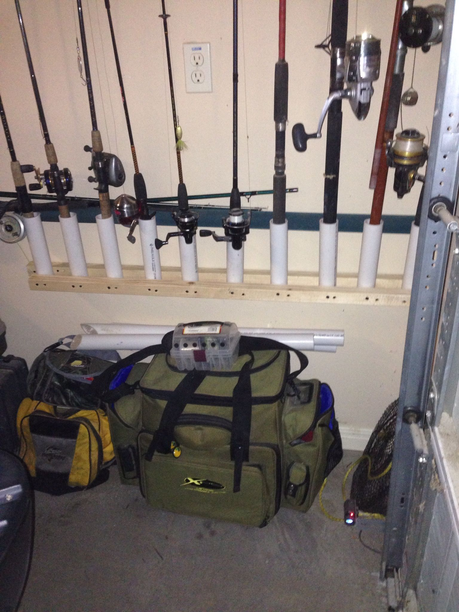 Fishing rod rack i would recommend using a 2x4 or six for Wall fishing rod holder