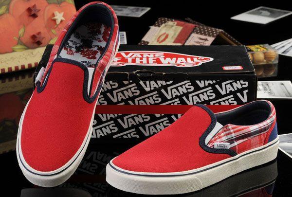 Vans Red Blue New York Map Classic Slip-On Checkerboard Canvas Skate Shoes  Outlet  13060106  -  39.99   Vans Shop de8dda0c8368