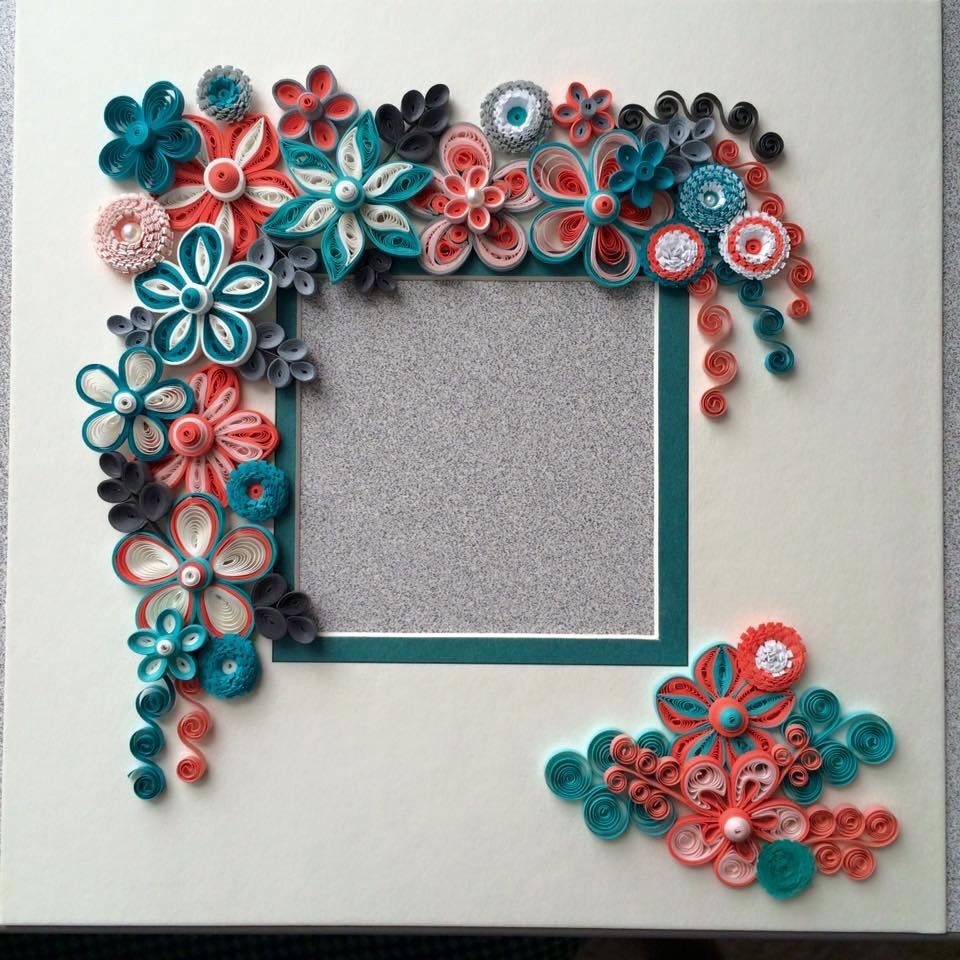 Orange Amp Teal Quilled Picture Frame Quilling Paper