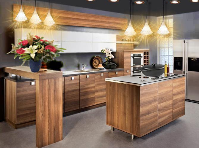 id e d co une cuisine en bois chic et moderne projet maison pinterest cuisine ouverte. Black Bedroom Furniture Sets. Home Design Ideas