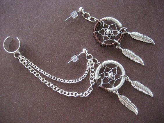Dream Catcher Ear Cuff Twotone Dream Catcher Ear Cuff Brown White Cartilage Chain 4