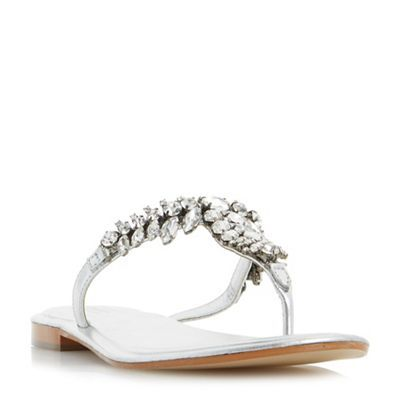 ac49b82483c347 Dune Silver  Nara  jewelled toe post flat sandals