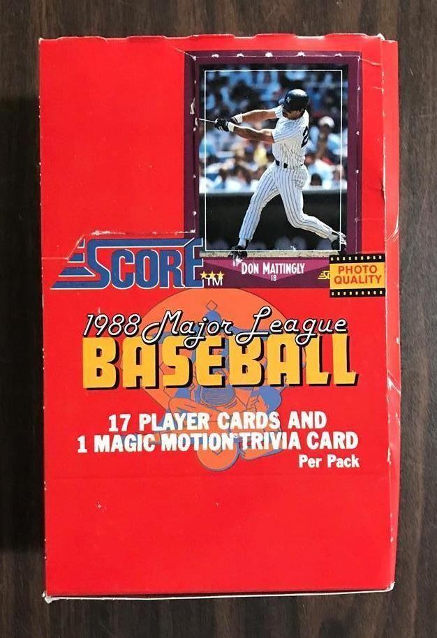 1988 Score Baseball Card Wax Box 36 Unopened Packs Per Box
