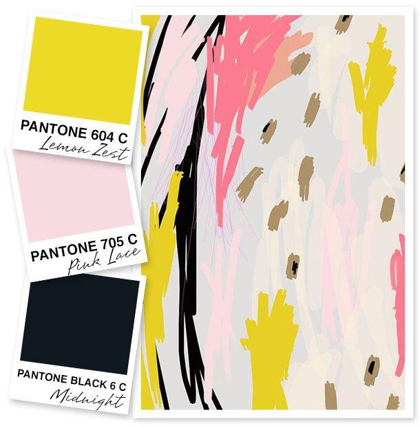 Lemon Yellow, Pale Pink And Black Color Palette