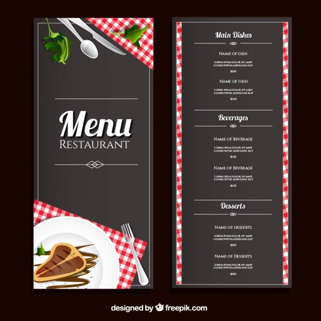 Design De Menu De Restaurant