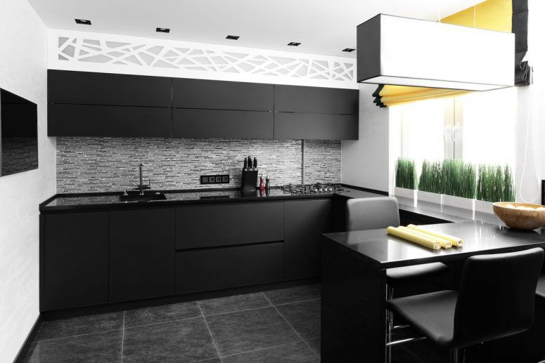 Interior Interior Of Modern European Kitchen Matte Black