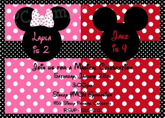 Twins Siblings Personalized Mickey and Minnie Mouse Polka Dot - mickey mouse invitation template