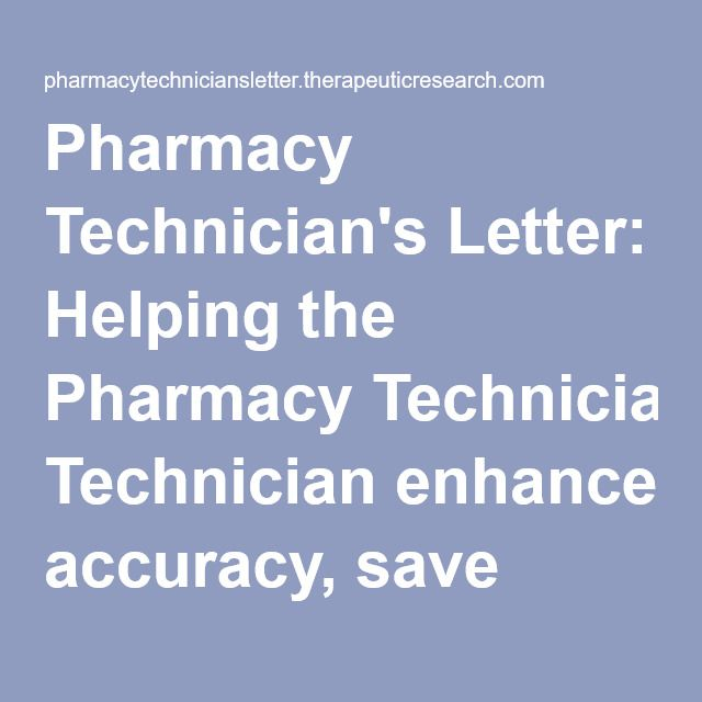 Pharmacy TechnicianS Letter Helping The Pharmacy Technician