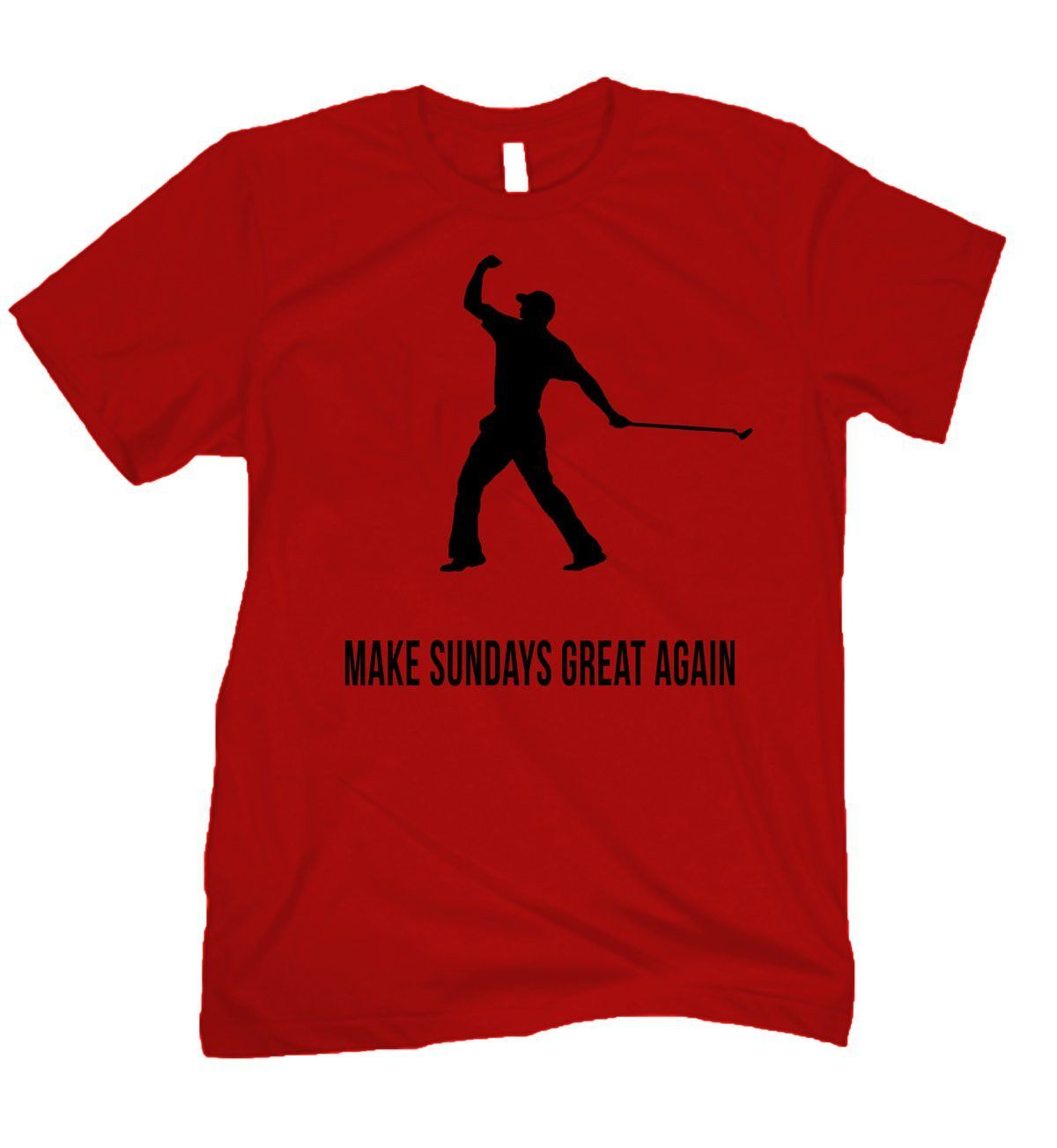 Make Sundays Great Again BLACK text red tee Mens tops