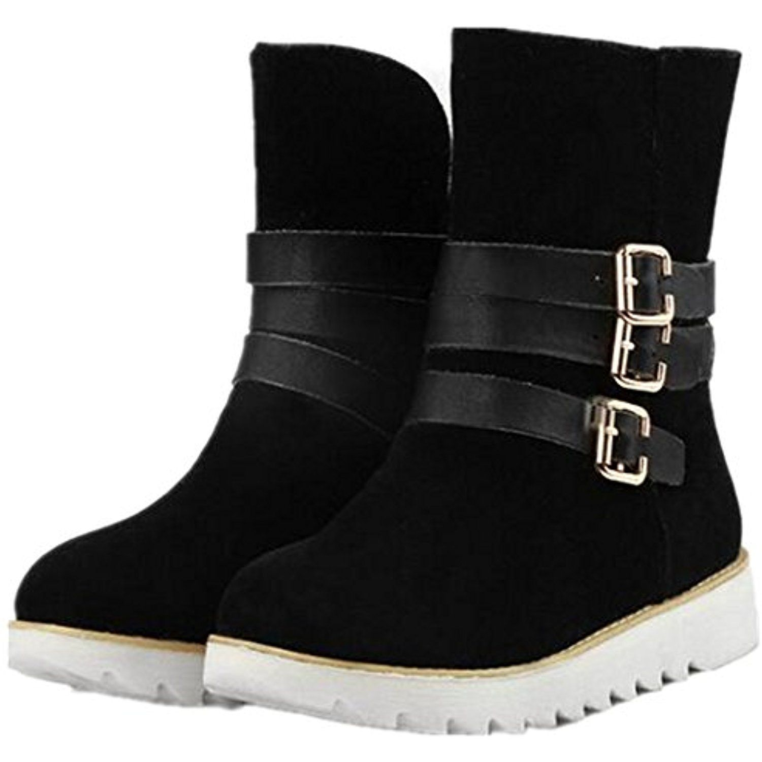 Nubuck Buckle Strap Artificial Plush Women's Ankle Snow Boots