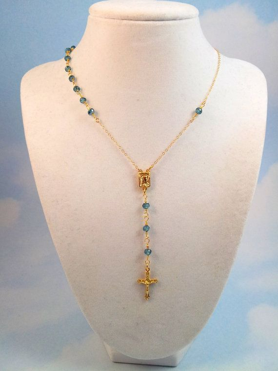 Rosary Necklace London Blue Crystals Cross Gold Filled Womens Custom Rosaries Jewelry  Confirmation Gift Inspired Gift for her #rosaryjewelry