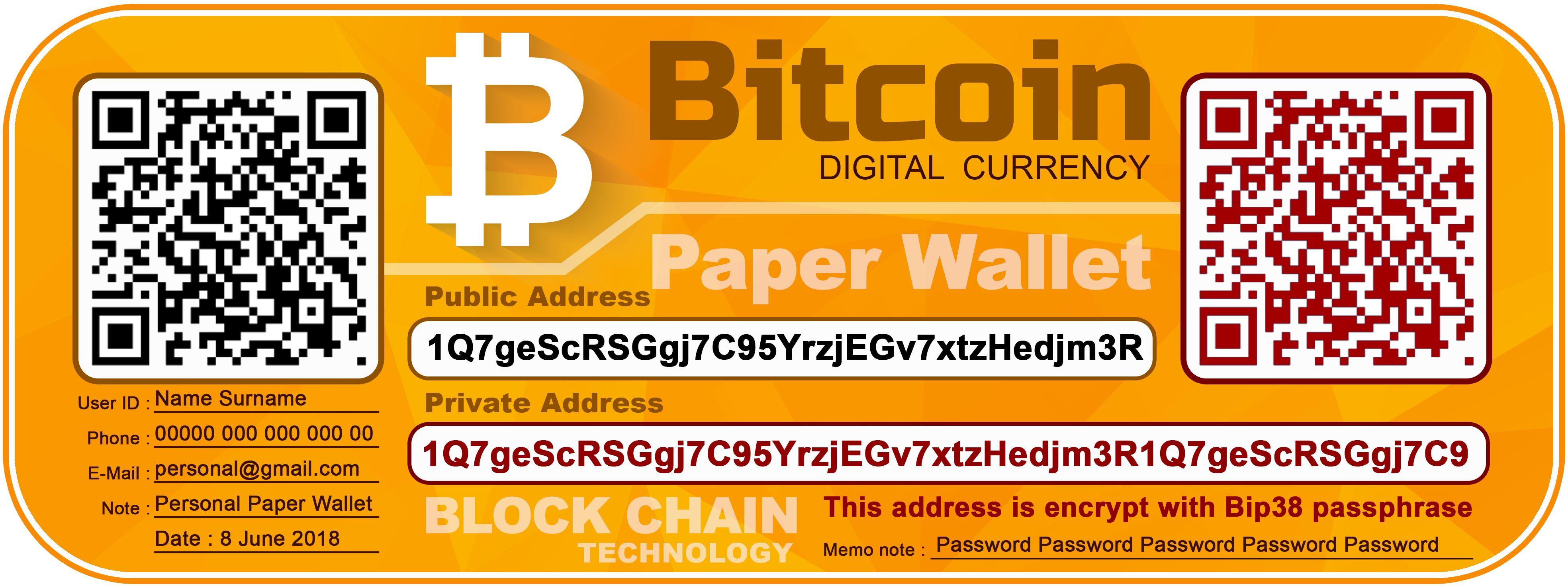 Bitcoin Paper Wallet Template Designer K Toro Bitcoin Bitcoin