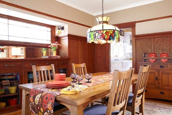 Recrafting A 1915 Craftsman With Images Bungalow Interiors Dining Room Design Leaded Glass Door