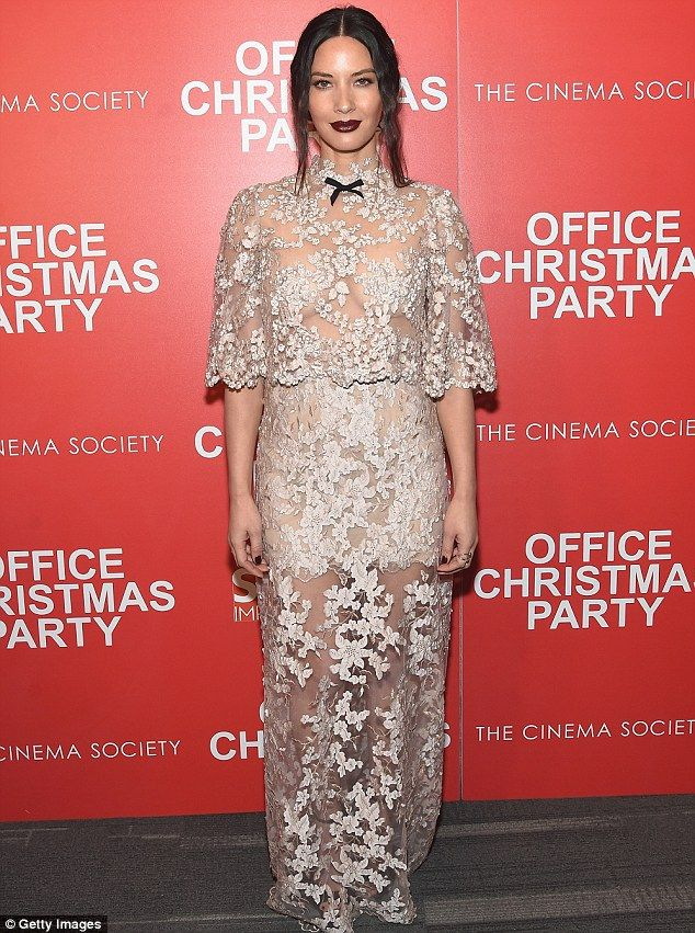 Olivia Munn darest to bare at Office Christmas Party screening in NYC