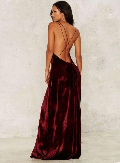 Women s Loose Sleeveless V Neck Backless Velvet Prom Evening Dress  novashe.com e3fe87487e