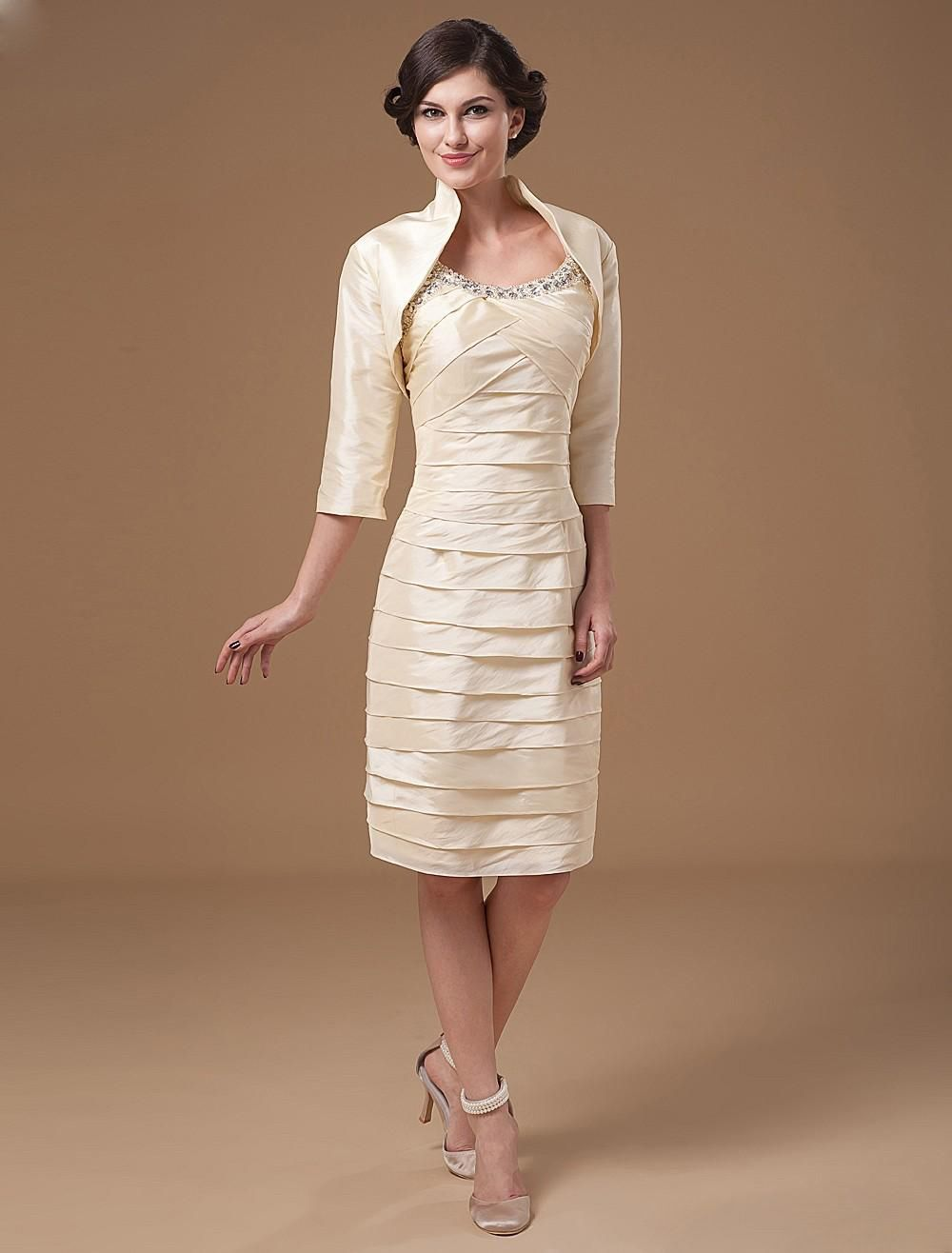 Dresses for wedding reception for bride  Taffeta Scoop Beads Knee Length Mothers Of Bride Guests Dress