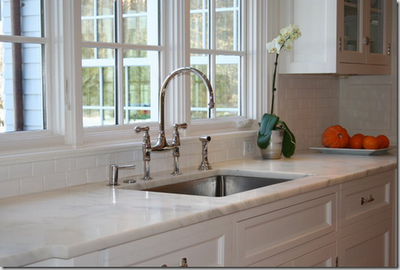 "Franke professional series 30"" stainless steel sink (the deep one), and Perrin & Rowe bridge faucet"