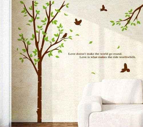 topro large green tree and birds wall art stickers decal for home
