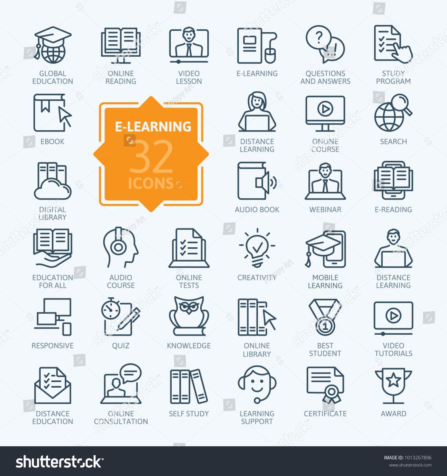 E Learning Online Education Elements Minimal Thin Line Web Icon