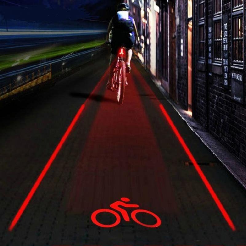 2 Laser 5 LED Waterproof Flashing Lamp Rear Light Bike Cycling Safety Warning UK