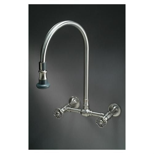 Steam Valve Original   Wall Mounted Bridge Mixer   Pull Off Spray Spout    Solid Stainless