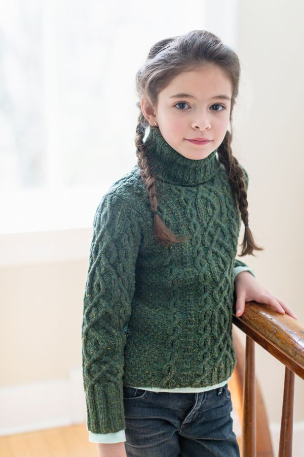 Vika Cabled Pullover with Turtleneck  from Brooklyn Tweed Kids//