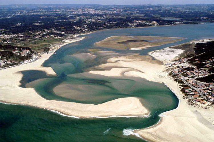 Foz do Arelho lagoon and beach , Portugal
