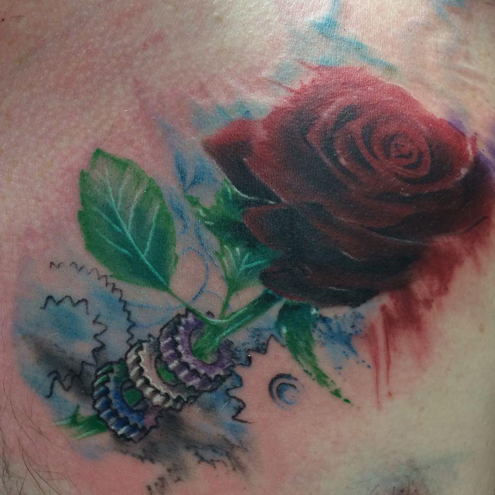 Watercolor Rose Tattoo On Ben Tattoos Watercolor Tattoo