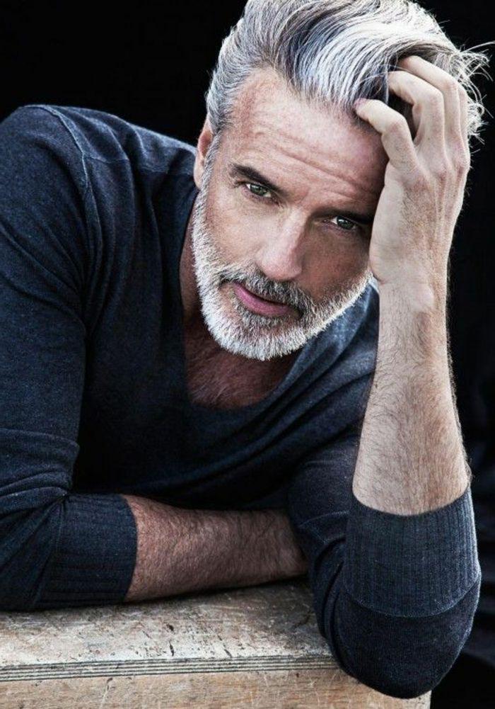 Tipos de barba hombre maduro ojos azules pelo blanco barba - Peinados para hombres ...