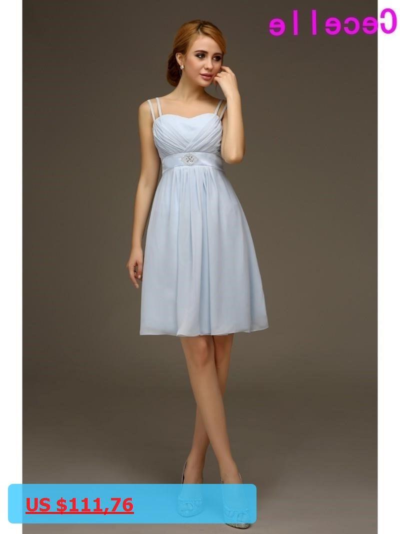 Wedding beach dress  Summer Casual Chiffon Short Light Blue Bridesmaids Dreses With