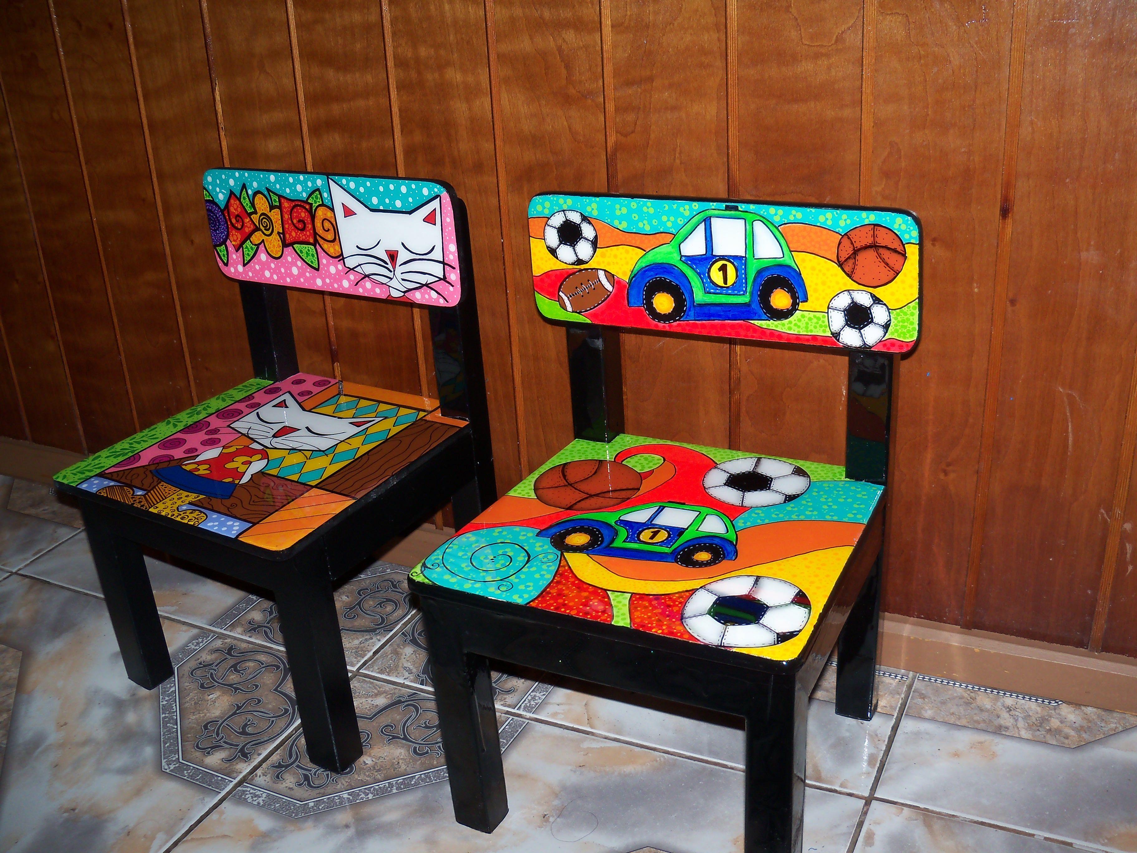 Sillas de ni os decorada y personalizada sillas pintadas for Muebles de madera para ninos