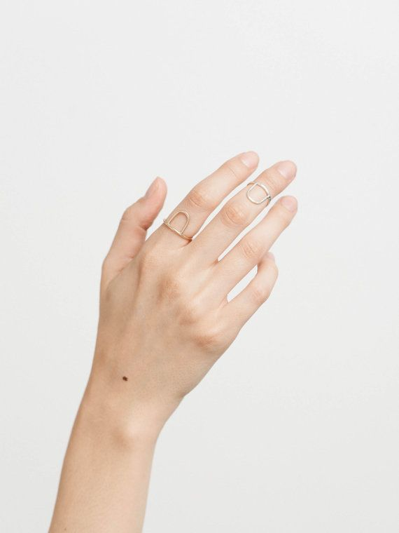 Modern, Bold Open Arc Ring • Stacking Rings • Stackable Hammered Arc Rings •  Custom Handmade 14k Gold Fill or Silver Ring by GLDN • Dawn