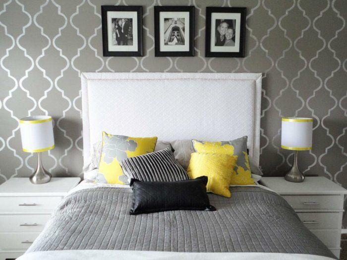 wohnideen schlafzimmer tapete muster grau weißes bettkopfteil - tapeten design schlafzimmer