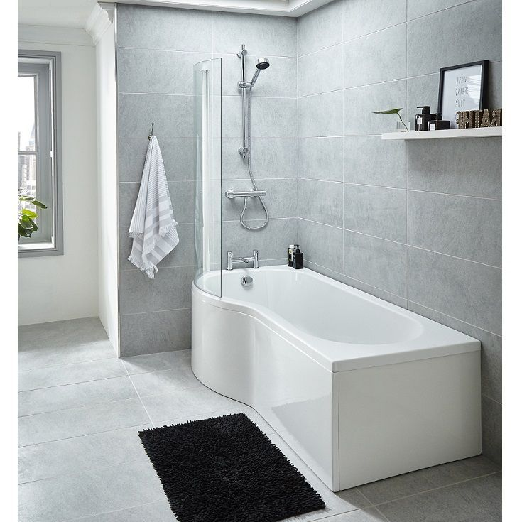 Premier 1500mm P Shaped Left Hand Whirlpool Shower Bath with 8 Jets ...